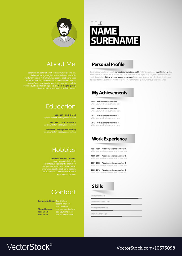 creative cv template with paper stripes royalty free vector