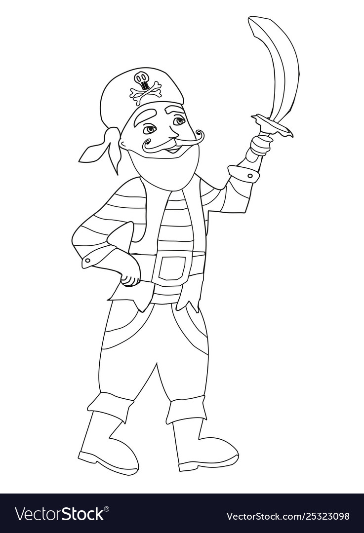 - Funny Pirate Coloring Book Royalty Free Vector Image