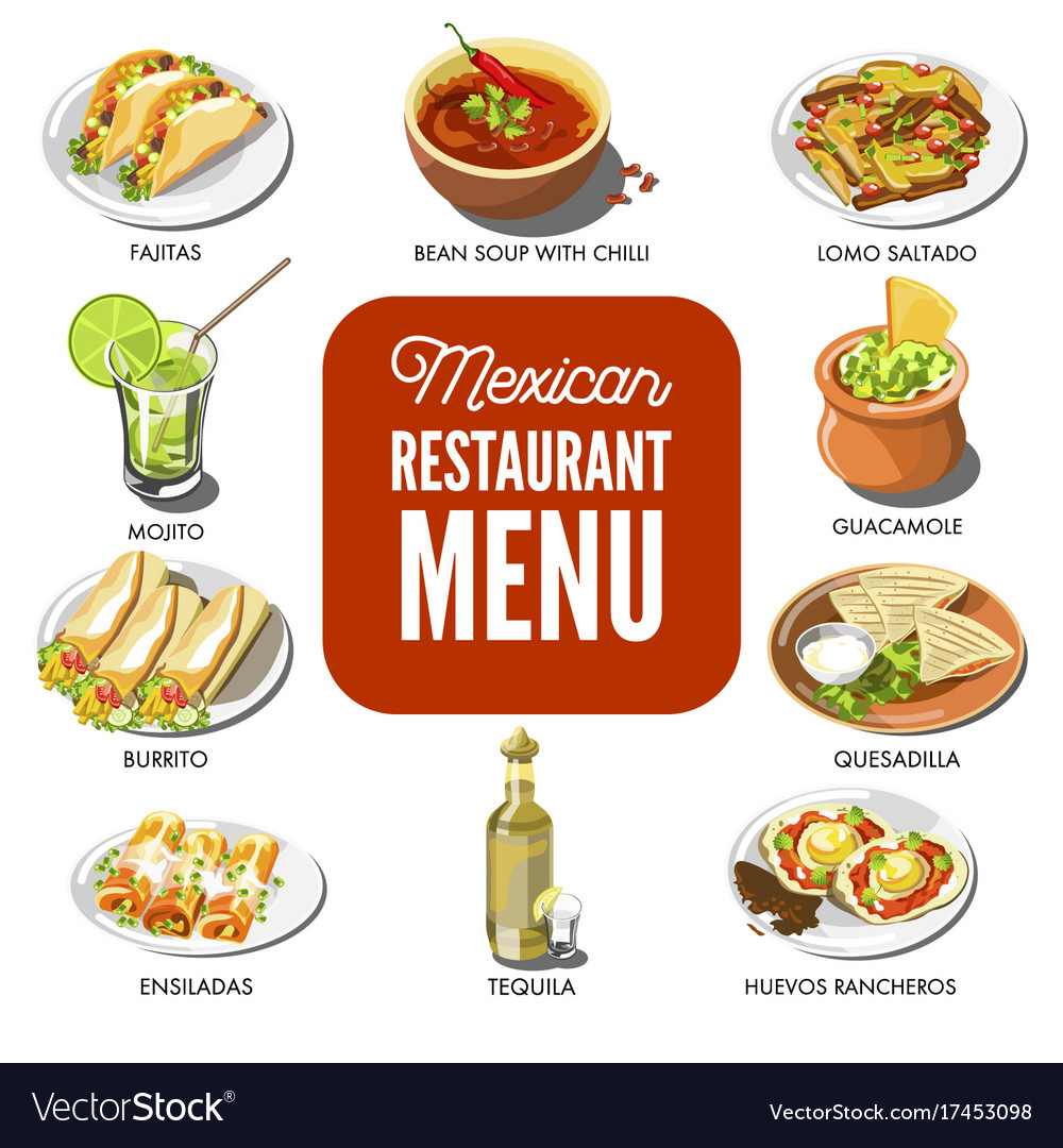 Mexican food cuisine traditional dish icons