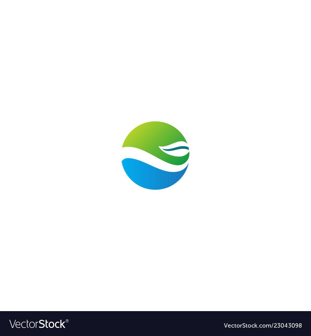 Round ecology nature green leaf logo