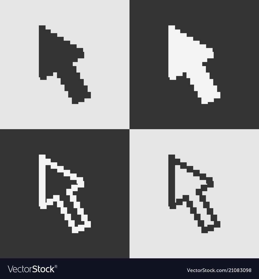 Set of black and white pixel arrow cursor icon iso
