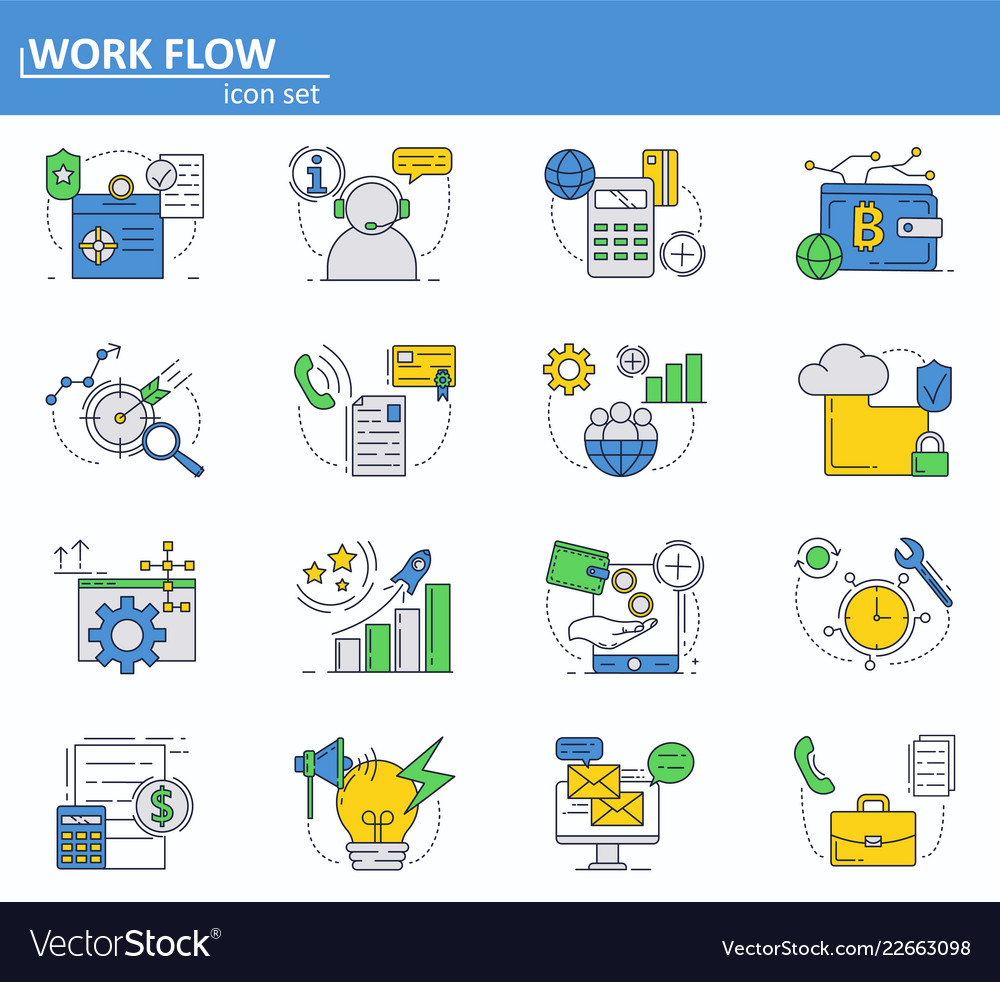 Set of business and digital money icons in