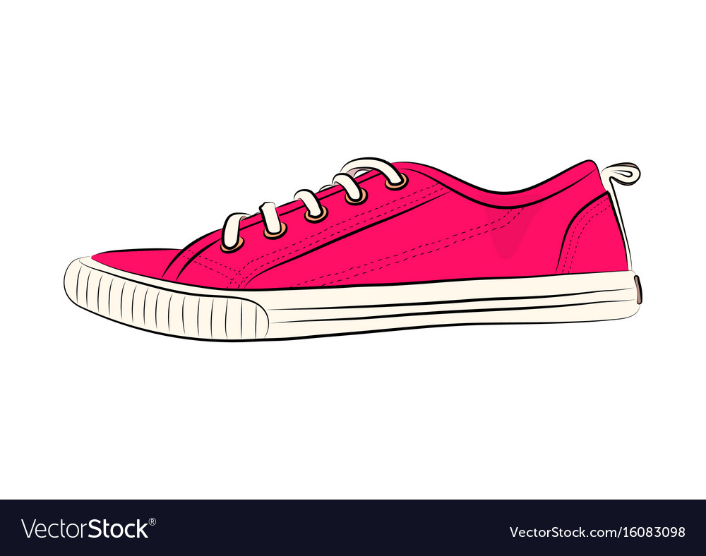 Sketch of sport shoes sneakers for summer
