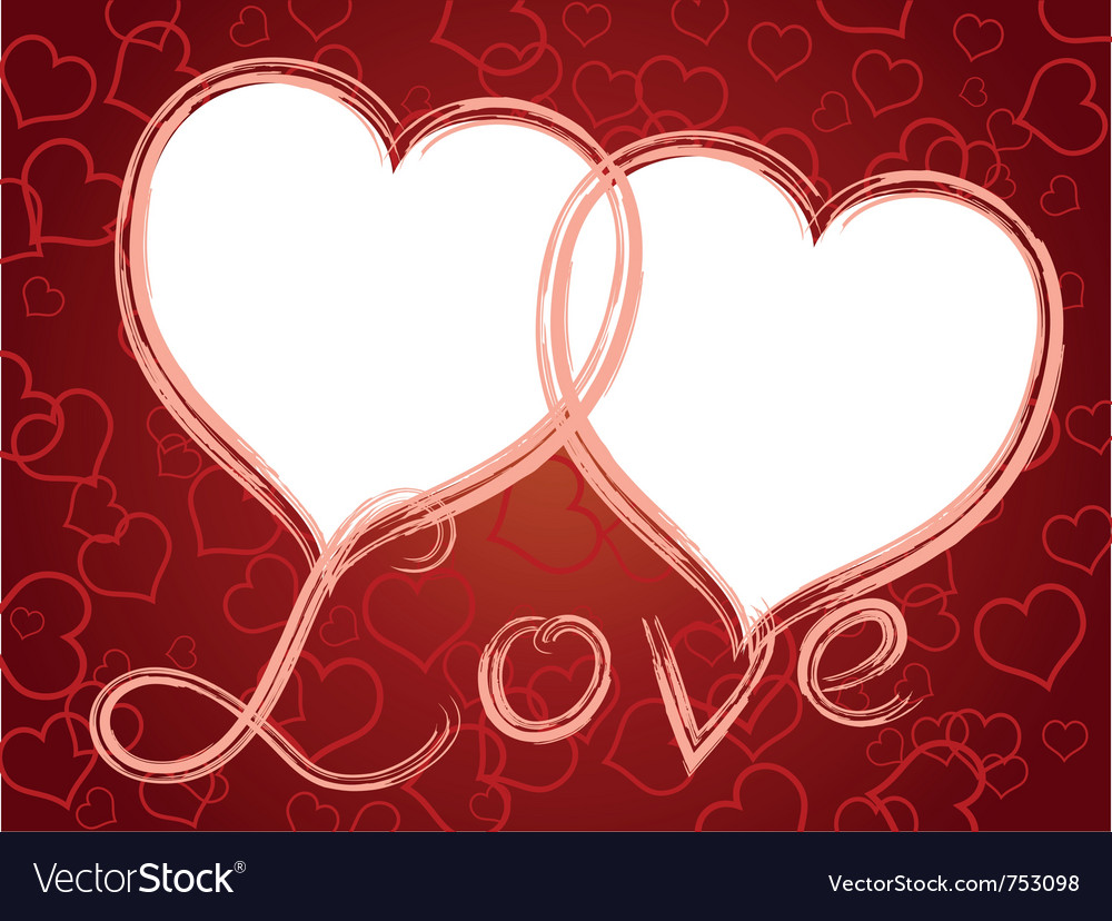 Two Hearts Love Frame Pattern Vector Image
