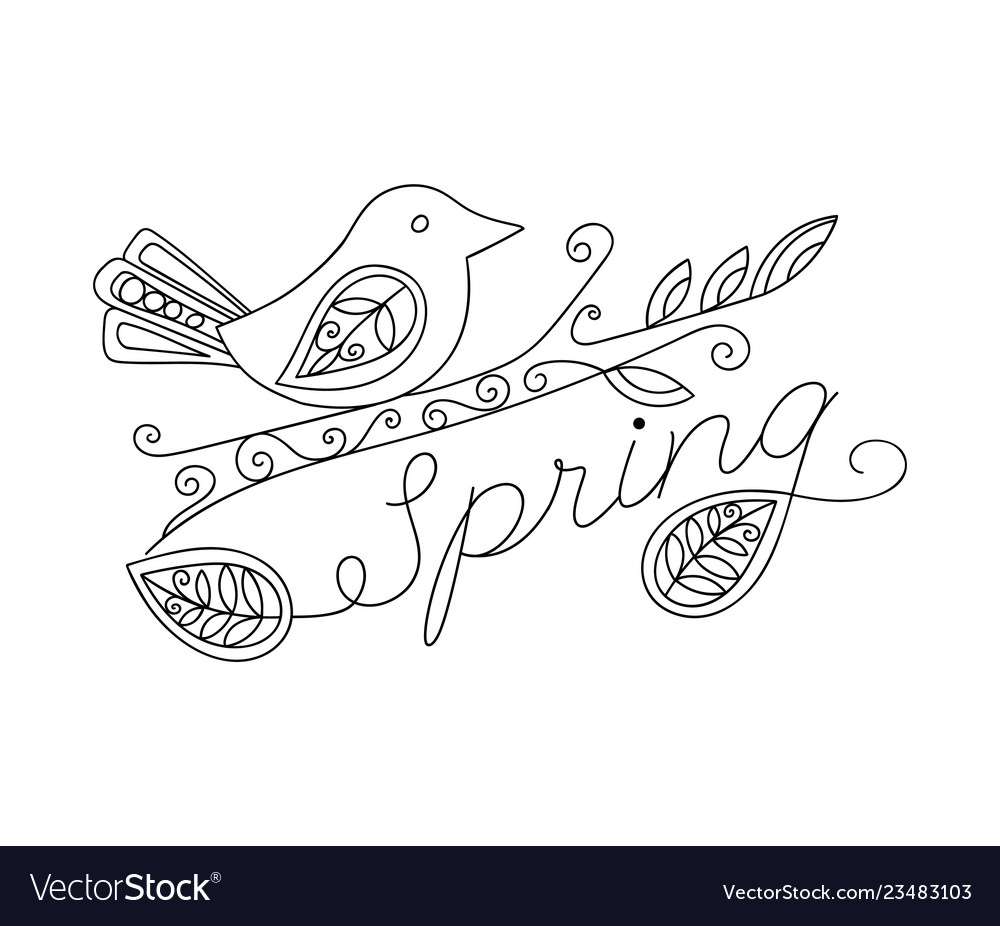 Adult coloring funny bird and spring inscription
