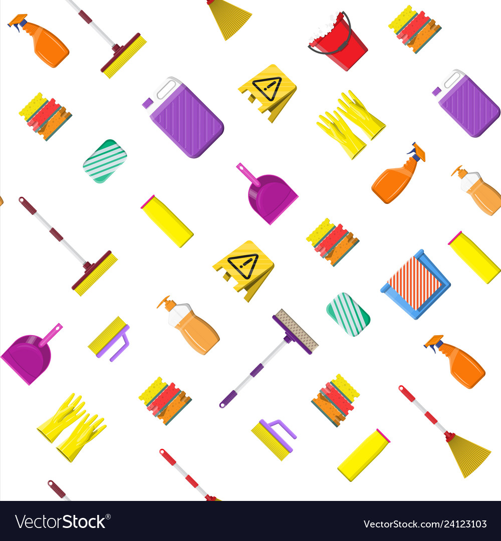 Cleaning set seamless pattern