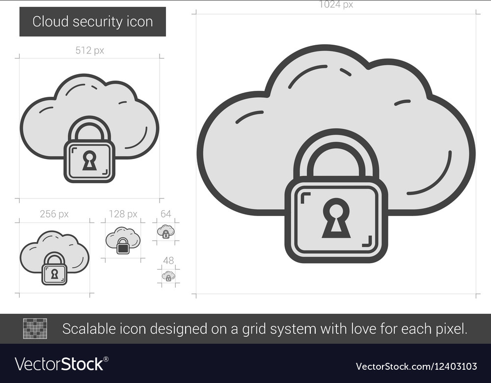 Cloud security line icon