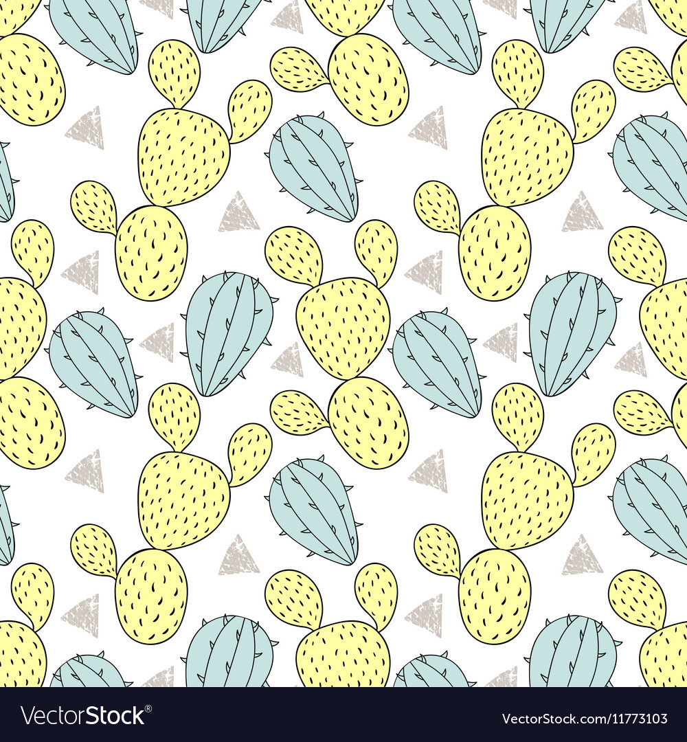 Color cactus seamless pattern Hand drawn cacti