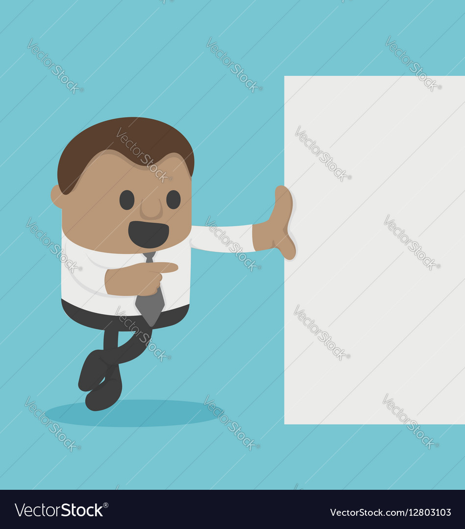 Cute american man Businessman with blank paper vector image