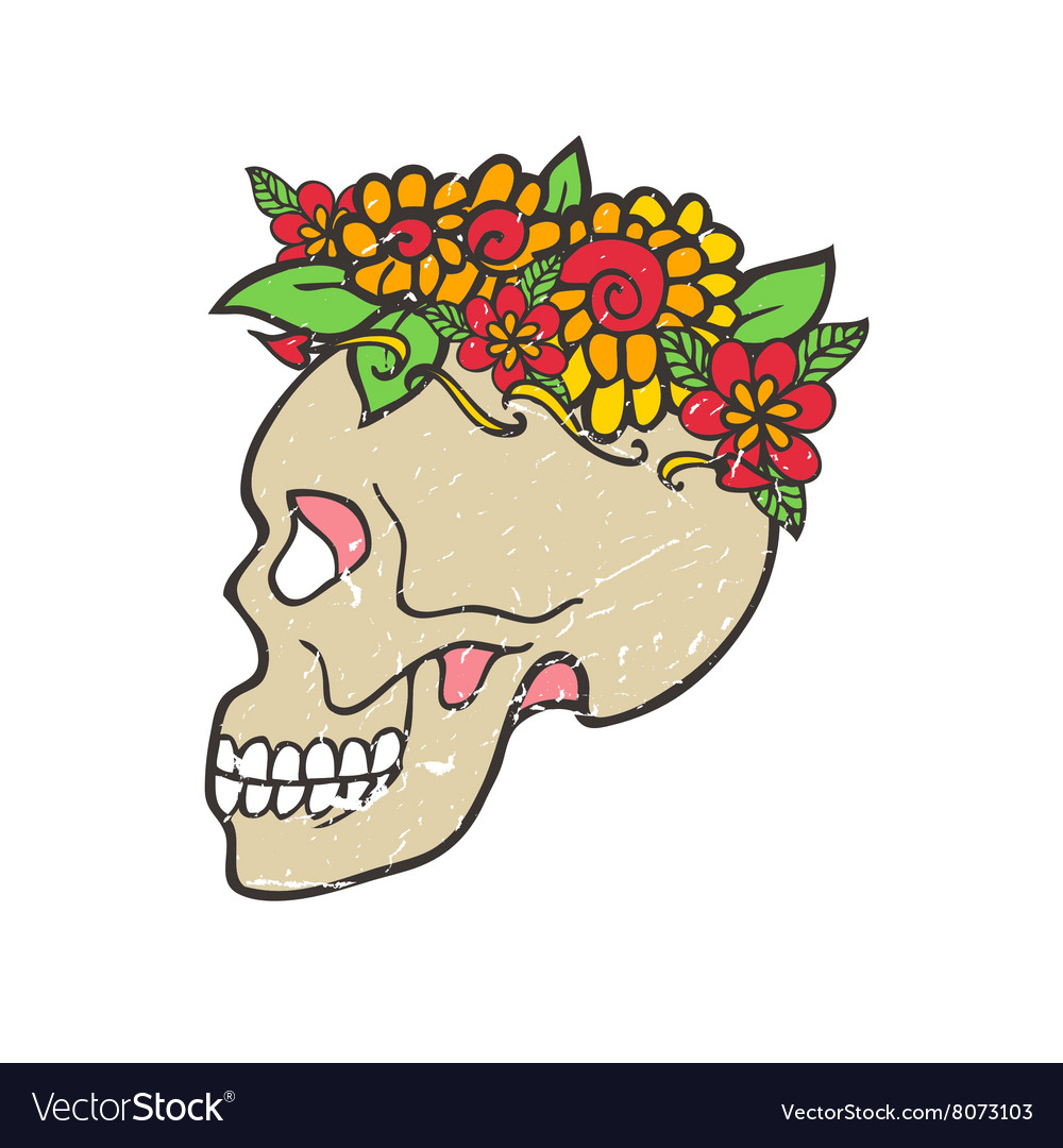 Day of dead skull with marigold
