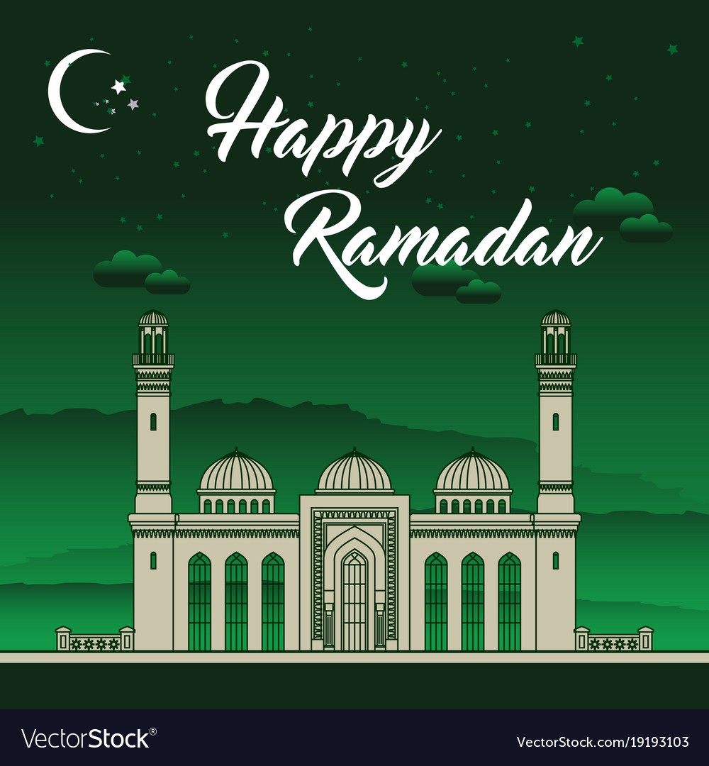 Eid Mubarak Ramadan Greeting Card Royalty Free Vector Image
