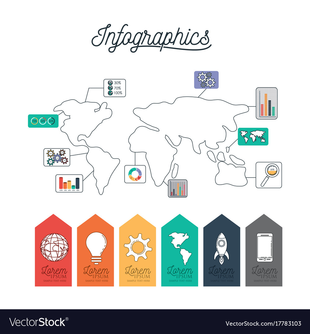Infographic world map with labels icons on bottom Vector Image