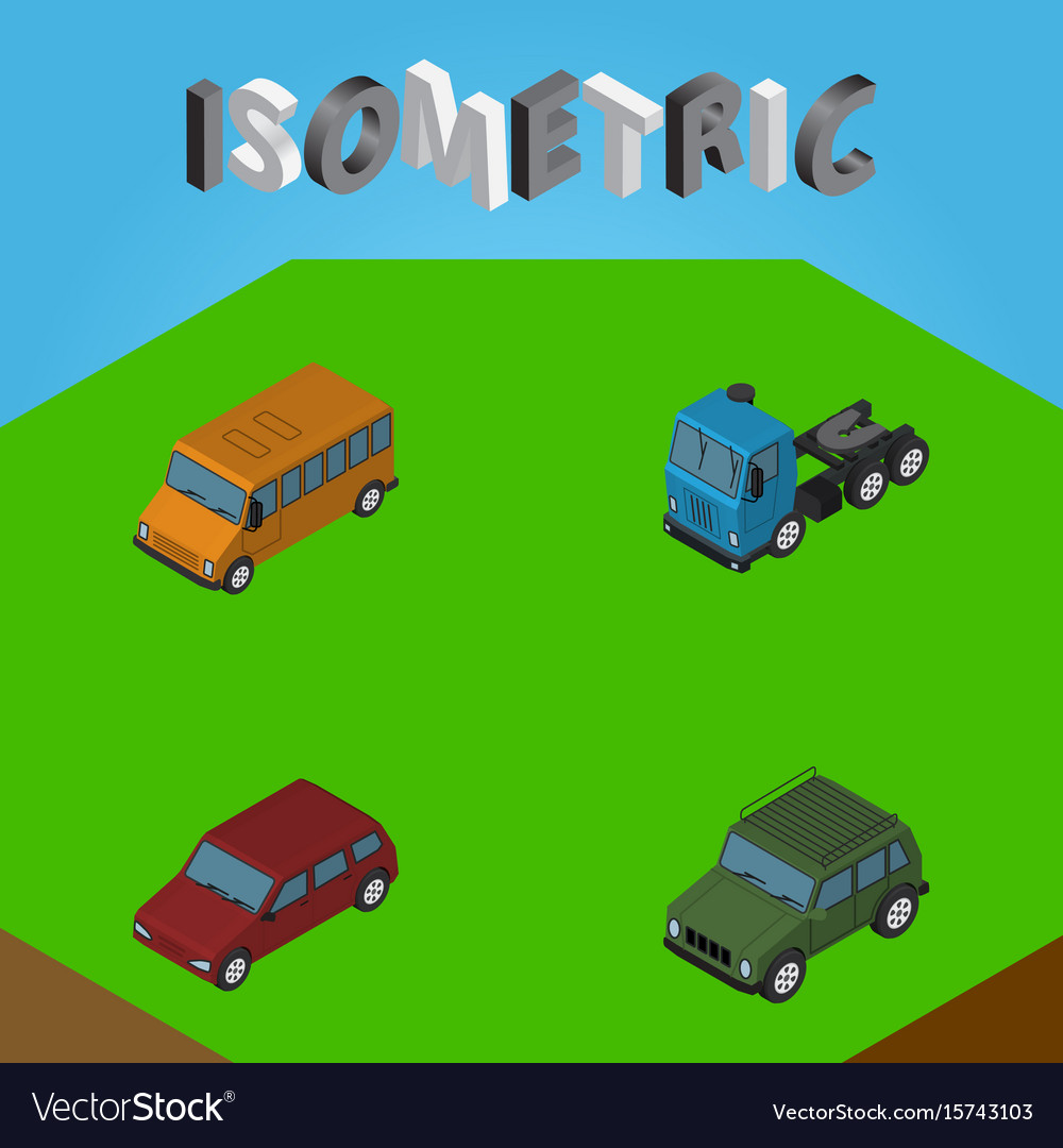 Isometric automobile set of car armored truck vector image