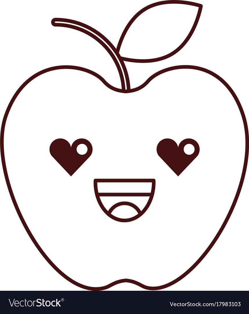 Kawaii fresh fruit apple food market cartoon vector image