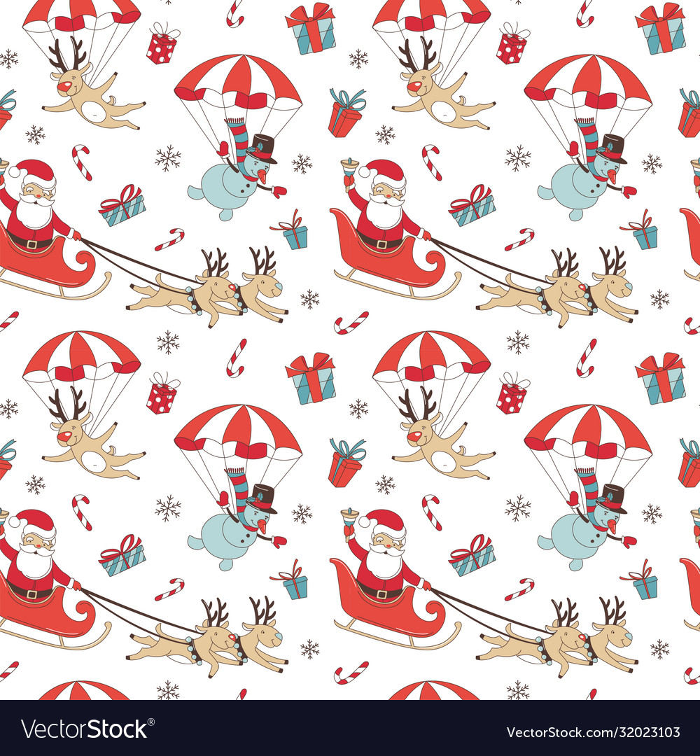 Merry christmas doodle seamless pattern background