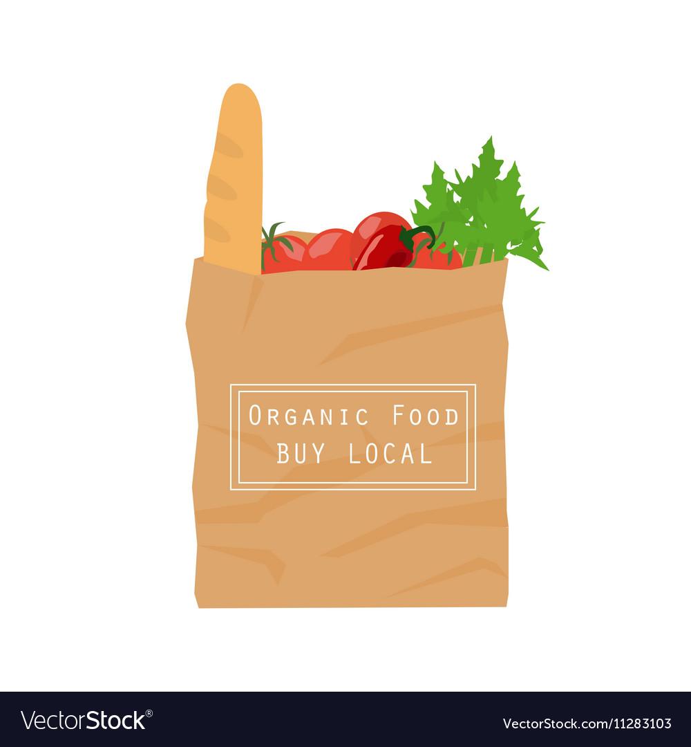 Organic food paper bag vector image