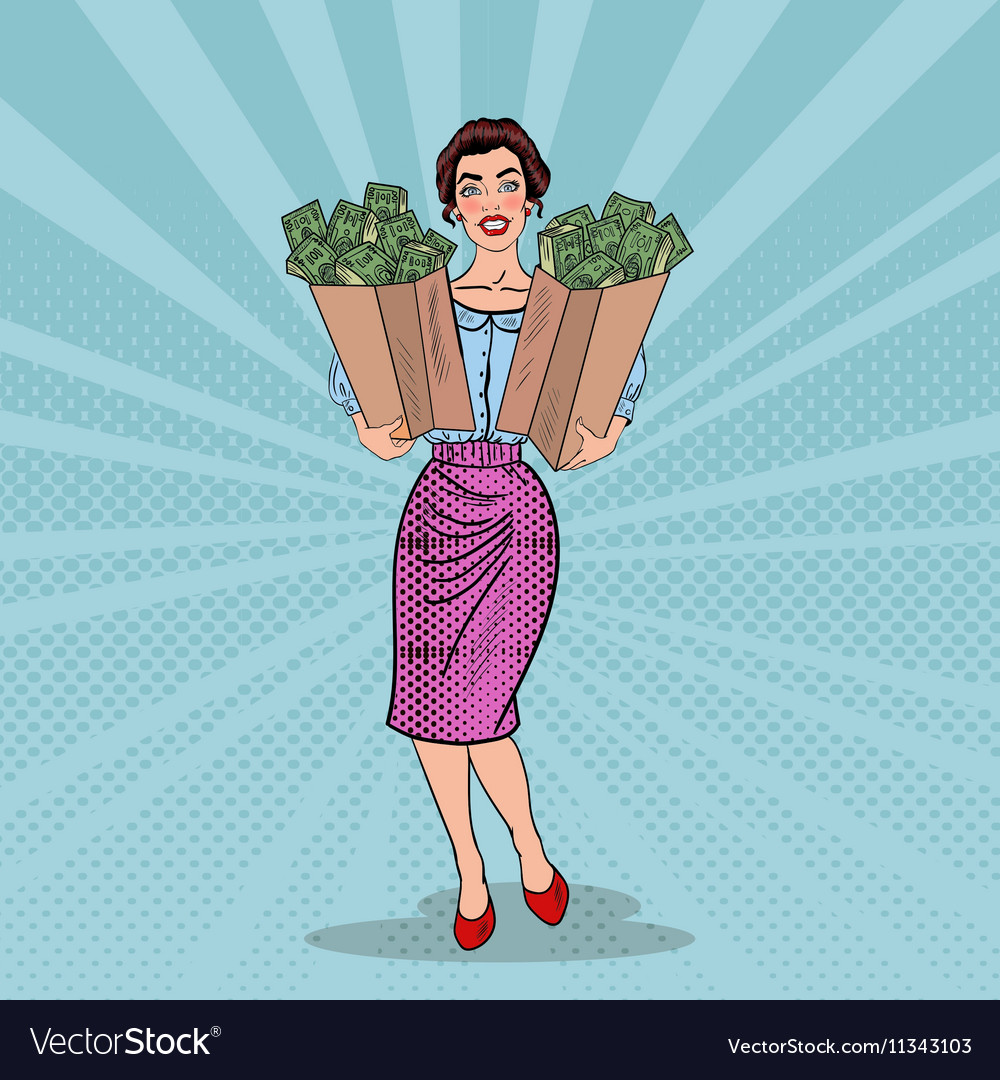 Pop Art Happy Rich Woman Holding Bags with Money