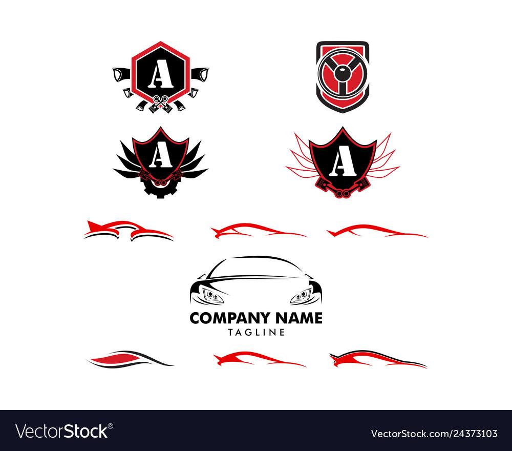 Set of auto car logo template