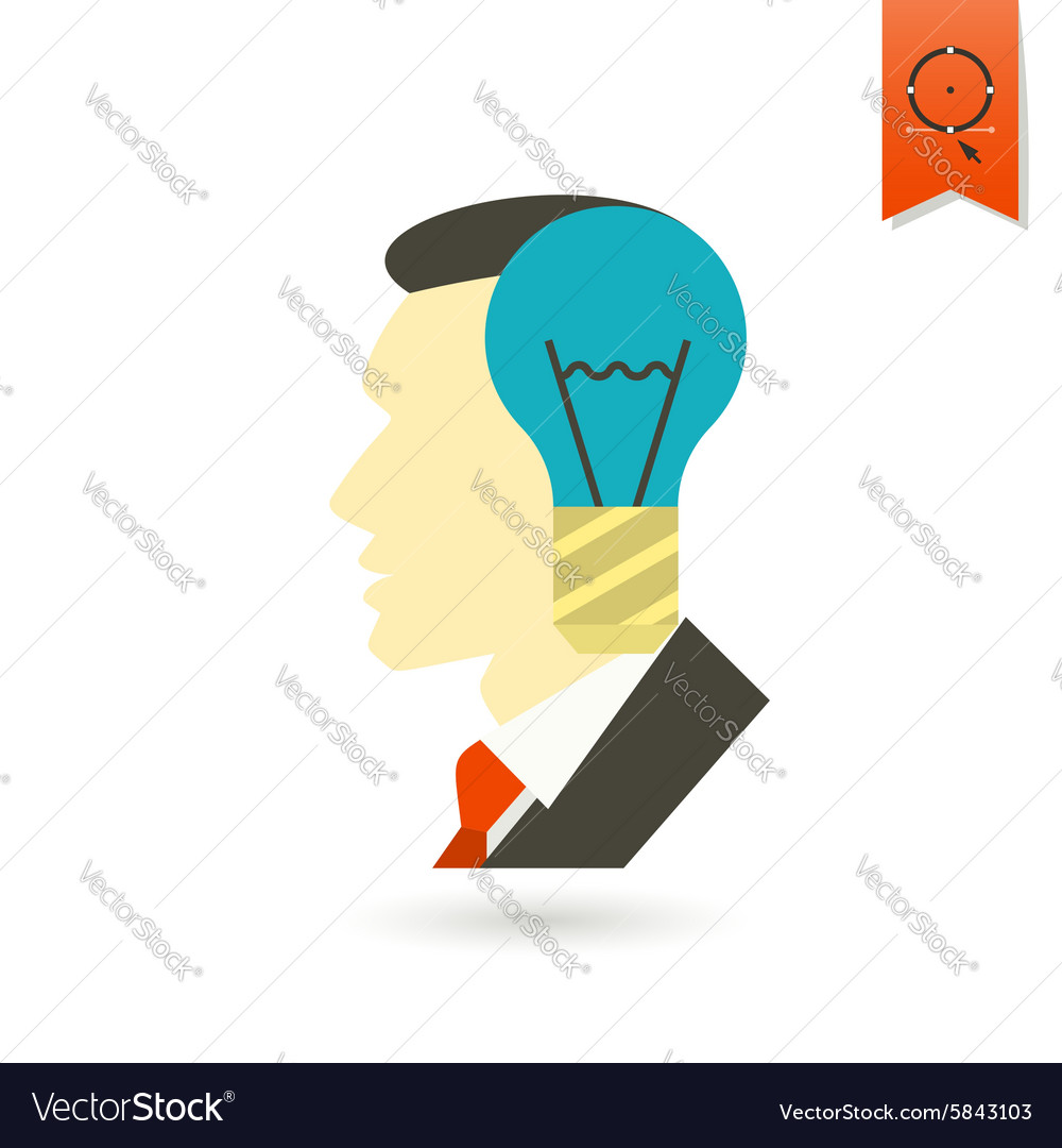 Silhouette of Man with Light Bulb Idea Concept