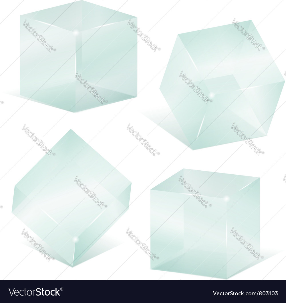 Transparent glass cubes vector image