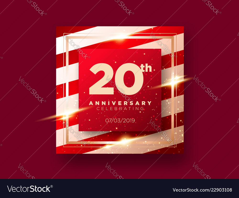 20 years anniversary celebration card 20th