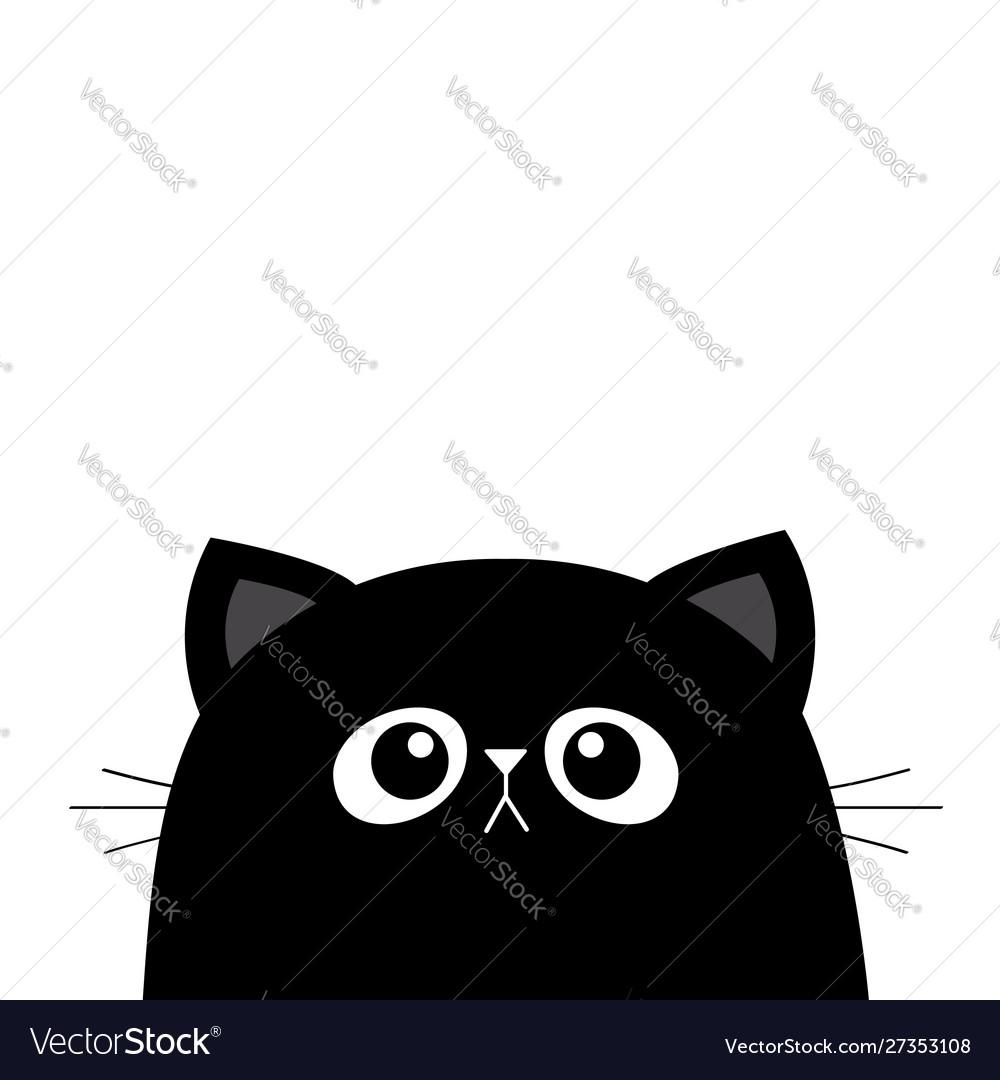 Black Cat Face Head Silhouette Cute Cartoon Vector Image