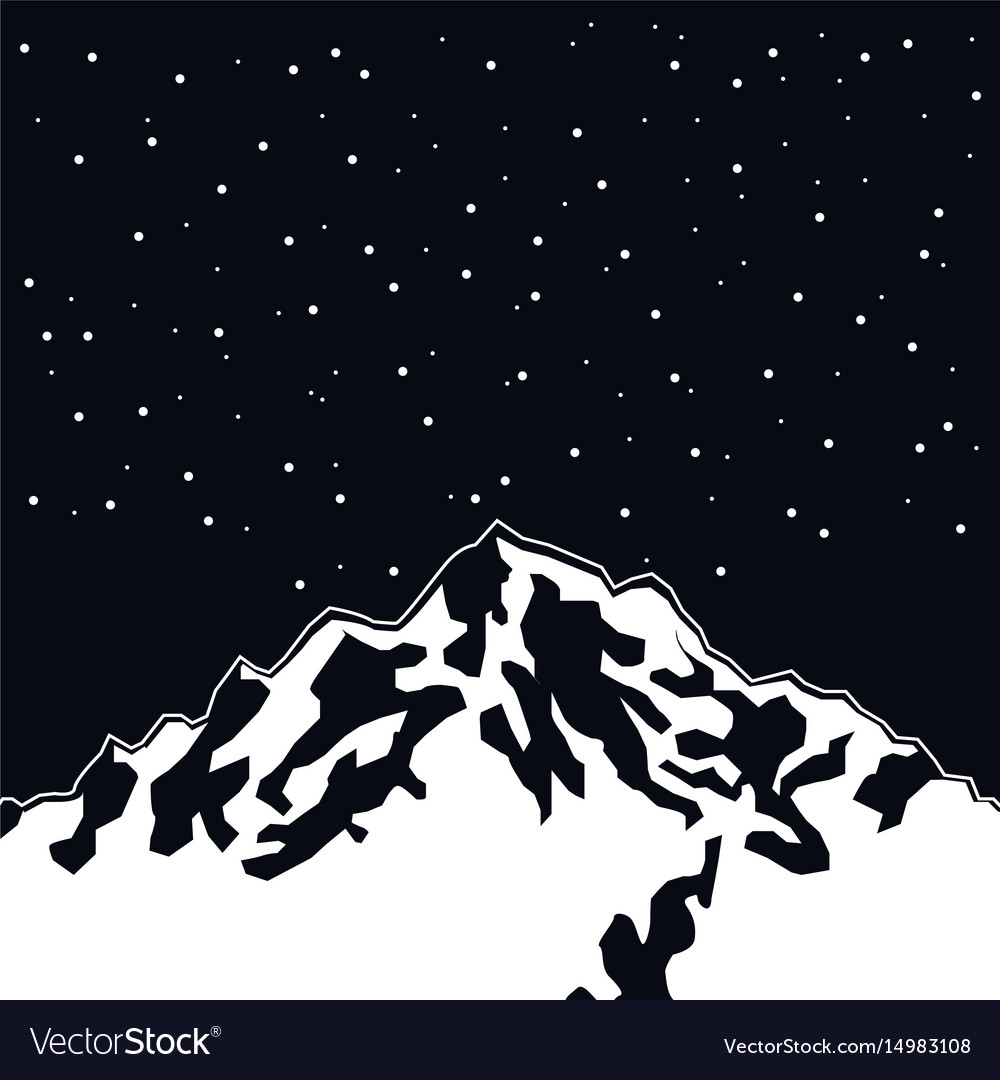 Black color scene landscape background of snowy vector image