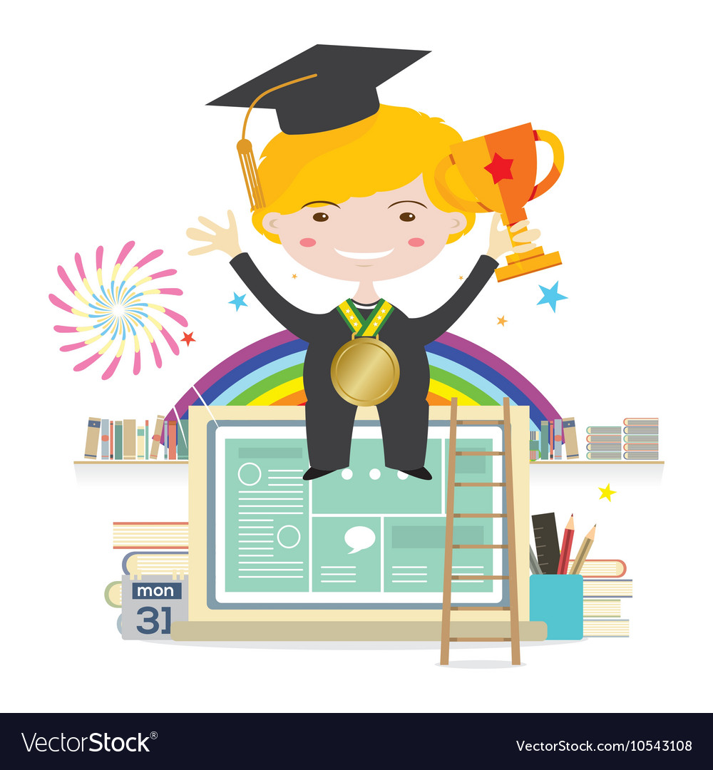Boy Wearing Graduation Suit Education Concept