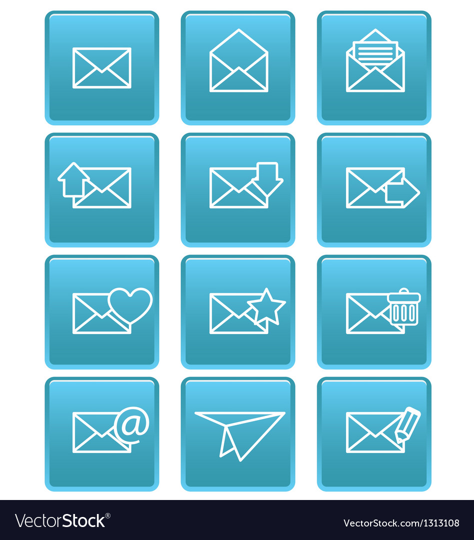 Envelope icons for email on blue squares
