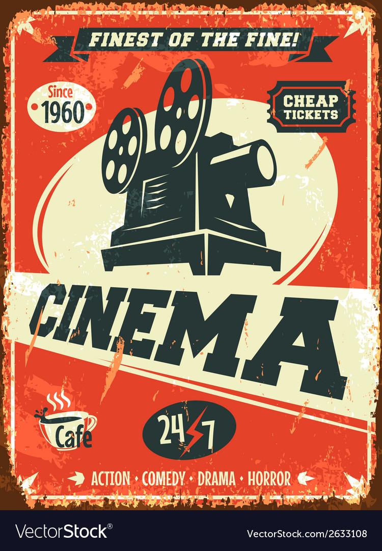 Grunge retro cinema poster vector image