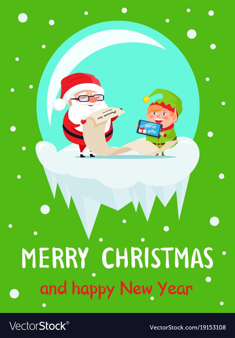 Happy new year merry xmas postcard santa and elf vector image