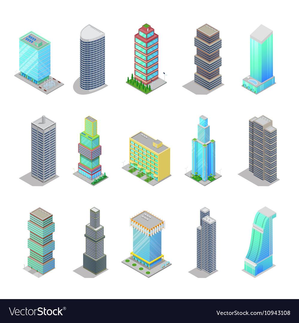 Isometric City Skyscraper Buildings Architecture
