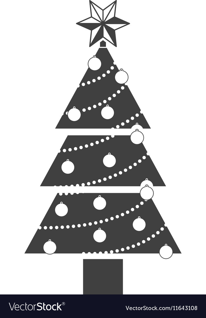 Monochrome Silhouette With Christmas Tree