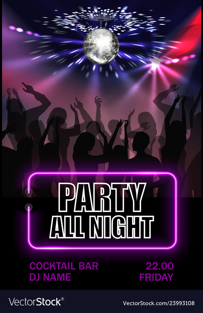 Realistic night party advertising poster