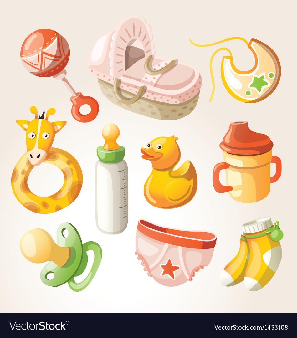 Set of design elements for baby shower