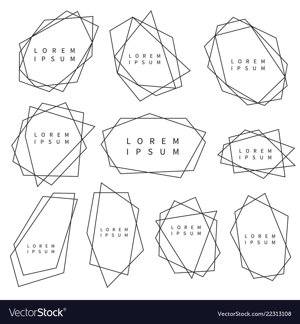 Set of trendy polygonal frames for logo