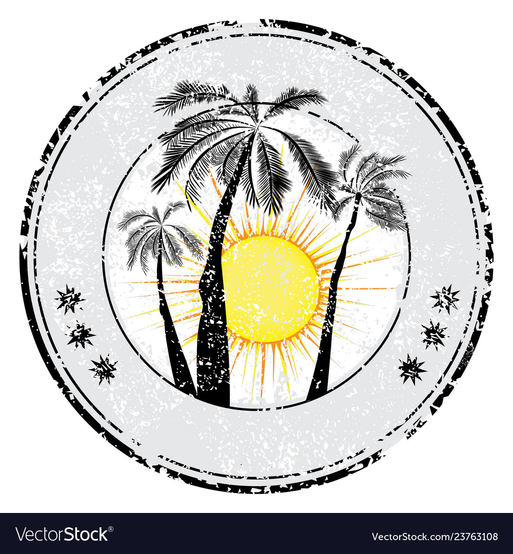 Tropical grunge rubber stamp with palm sun space