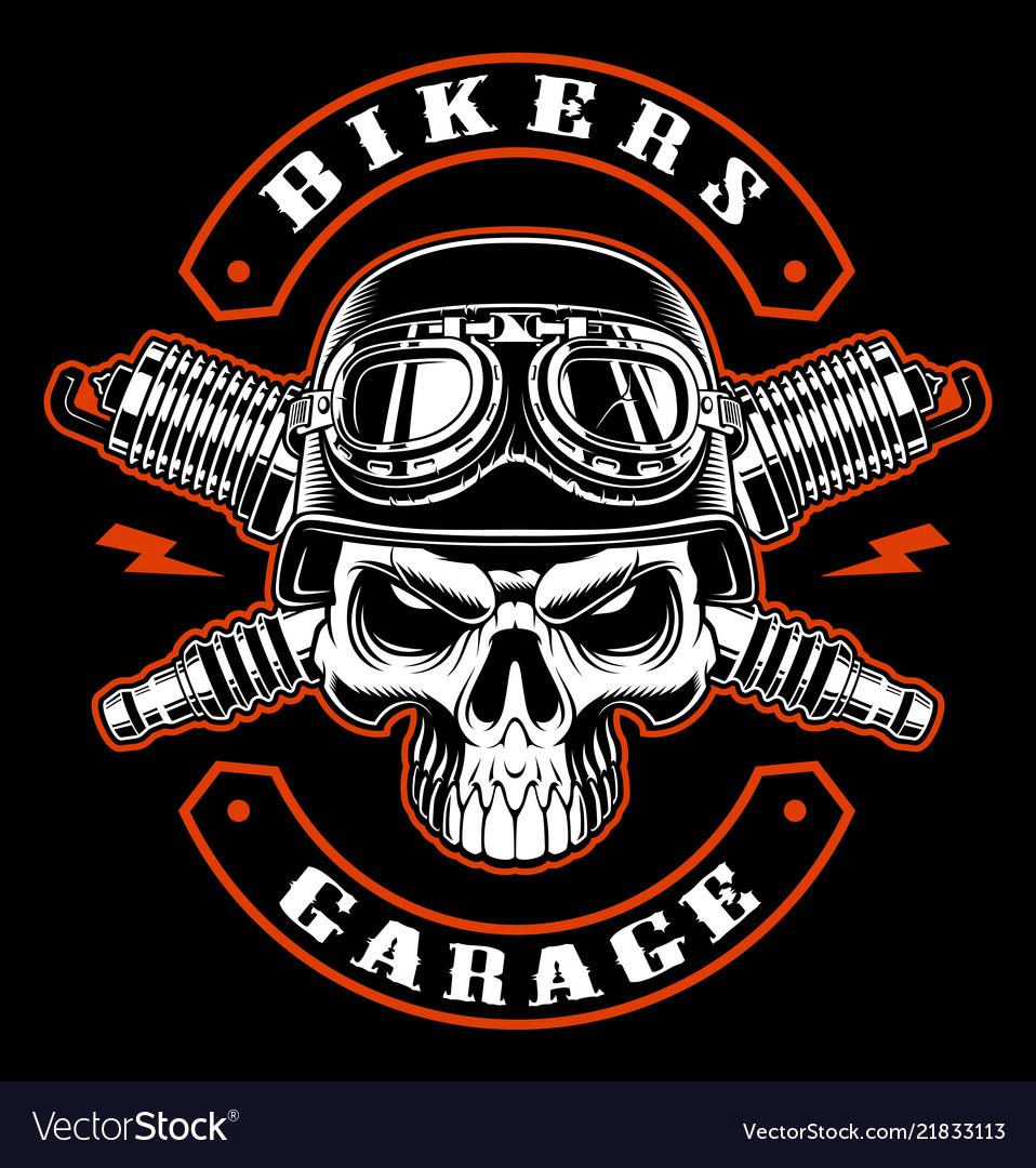 Biker skull and crossed spark plugs