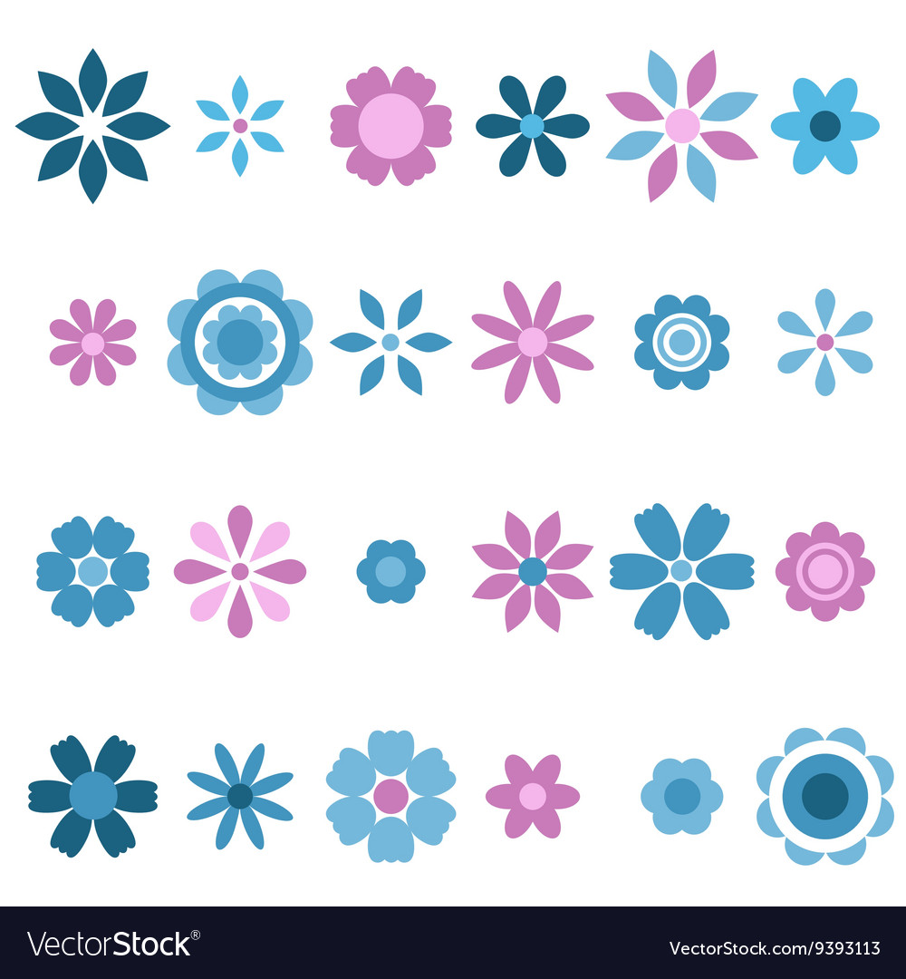 Blue and pink flowers set