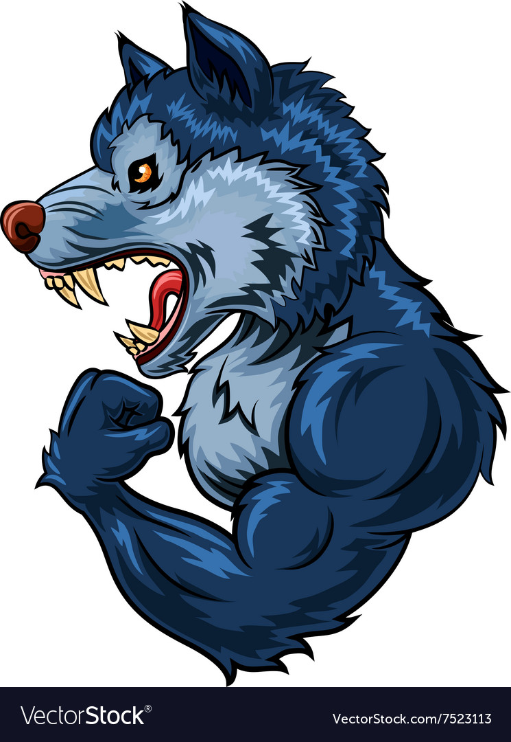 Cartoon of strong wolf character isolated
