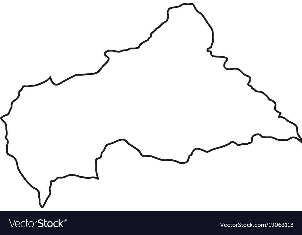 Central african republic map of black contour
