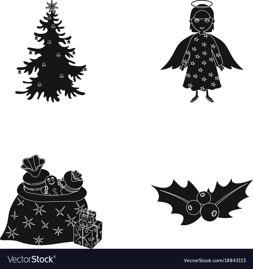 Christmas Tree Angel Gifts And Holly Black Icons