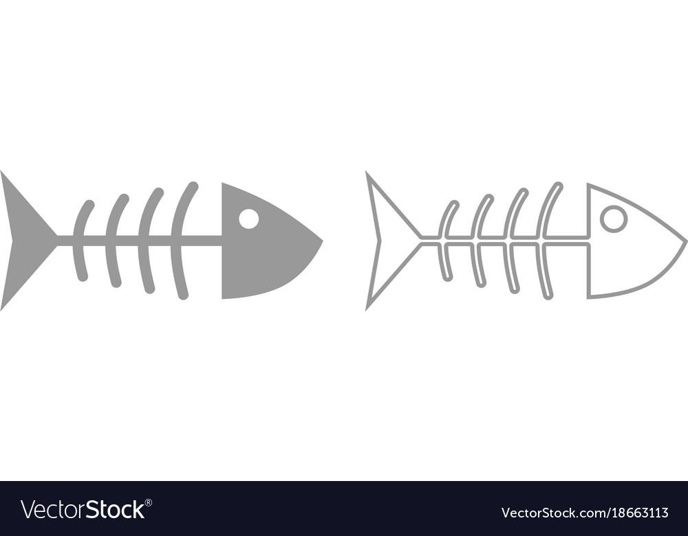 Fish sceleton icon grey set