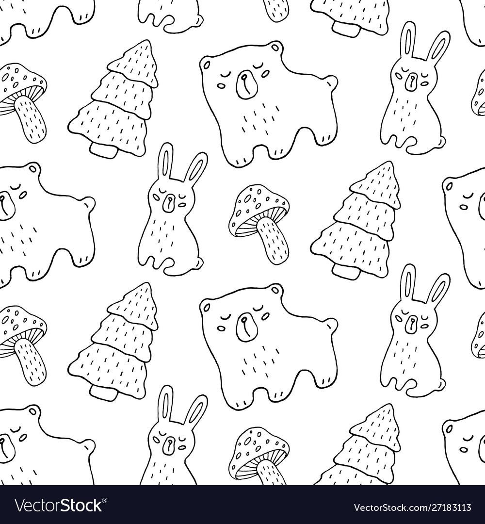 Hand drawn forest animals seamless pattern