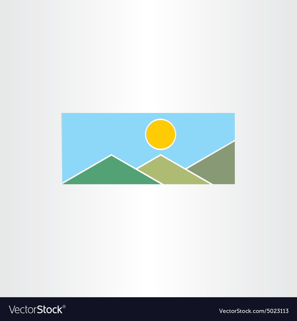 Mountains and sun flat icon