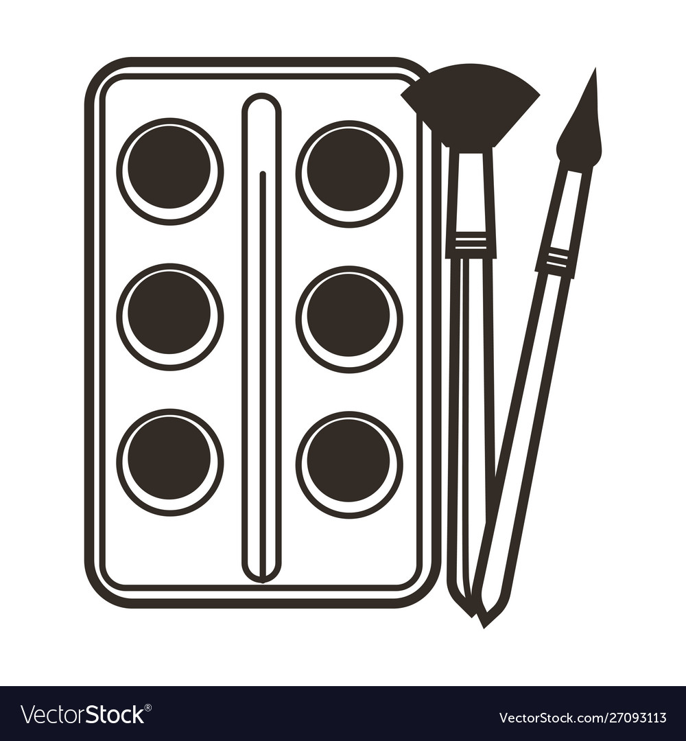 Paint and paintbrushes isolated icon art class