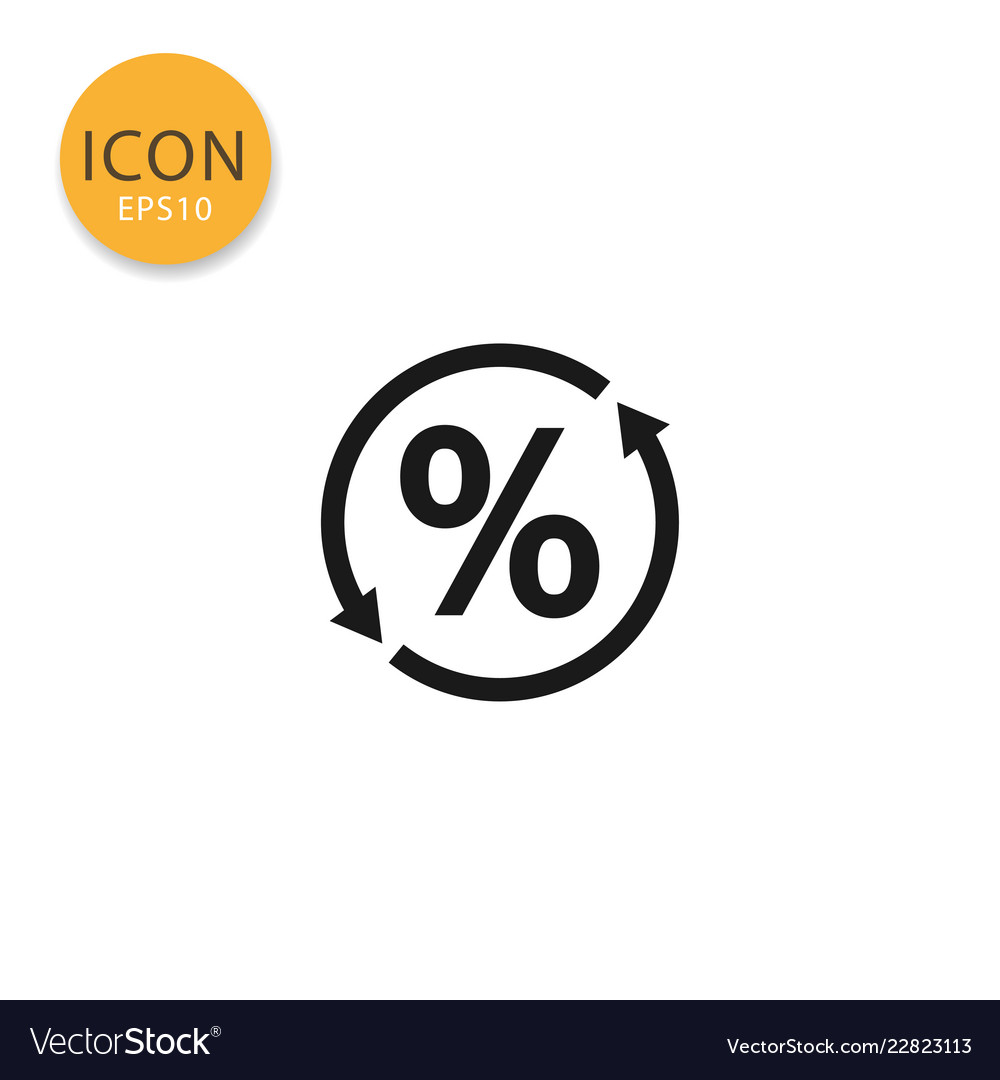 Percent icon isolated flat style