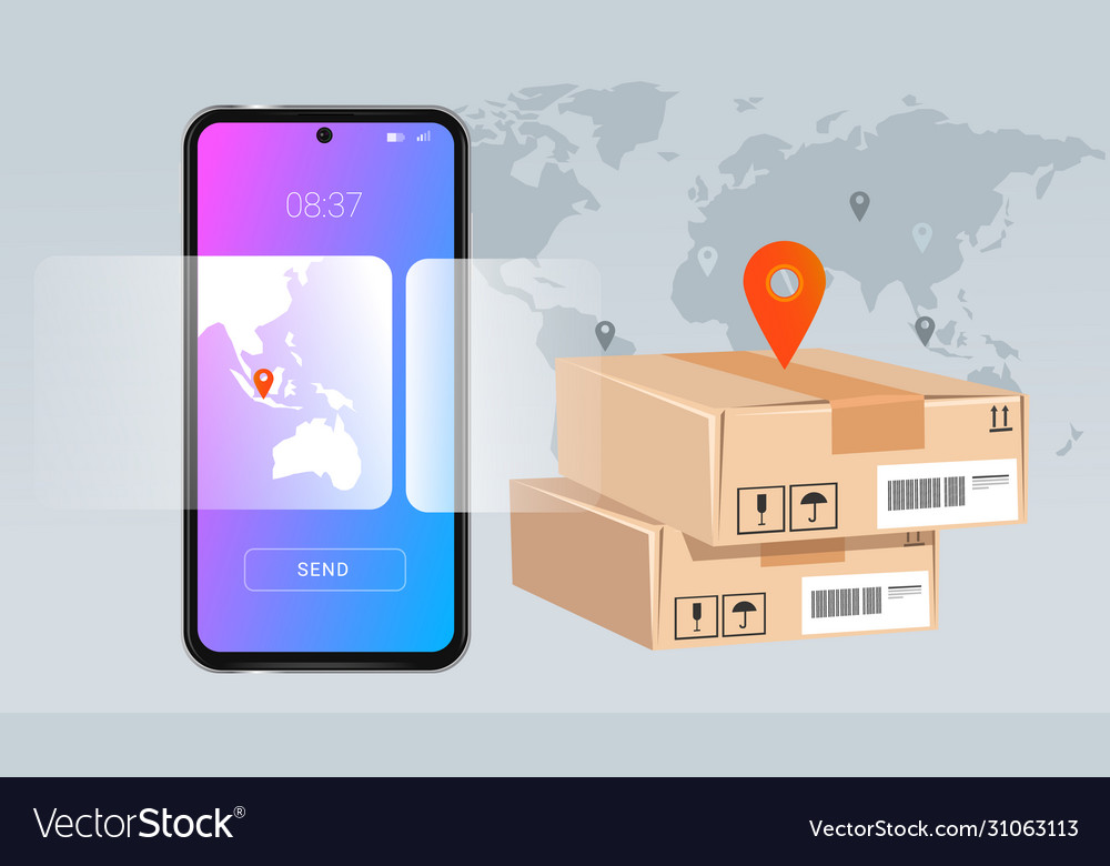 Smartphone mobile delivery package concept of