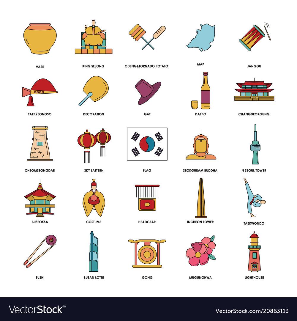 South korea icons set cartoon style