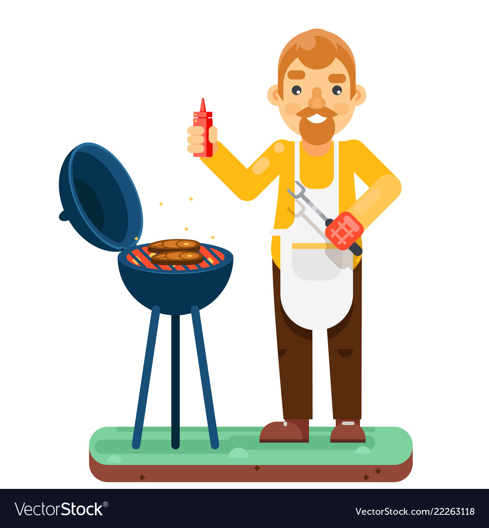 Bbq man cook meat barbecue isolated flat design
